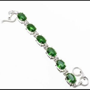 Jewelry - Silver Bracelet With Green Peridot Gems